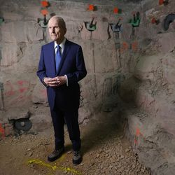 President Russell M. Nelson, president of The Church of Jesus Christ of Latter-day Saints, tours renovation work at the Salt Lake Temple in Salt Lake City on Saturday, May 22, 2021.