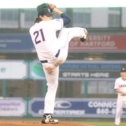 The Tulane Green Wave take on the UConn Huskies baseball team at Dunkin Donuts Park in Hartford, CT on April 27, 2018.