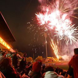 Fans enjoy  the fireworks after the Salt Lake Bees won their opener, 5-4, on Friday.