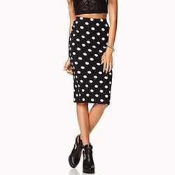 """<b>Forever 21</b> Retro Polka Dot Midi Skirt, <a href=""""http://www.forever21.com/Product/Product.aspx?BR=f21&Category=bottom_maxi-skirts-midi-skirts&ProductID=2040891546&VariantID=042"""">$9.80</a>"""