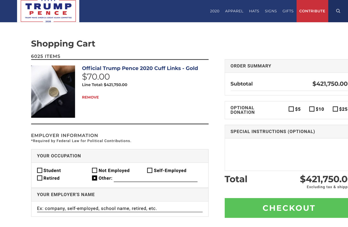 A Trump campaign store cart showing 6025 pairs of cufflinks