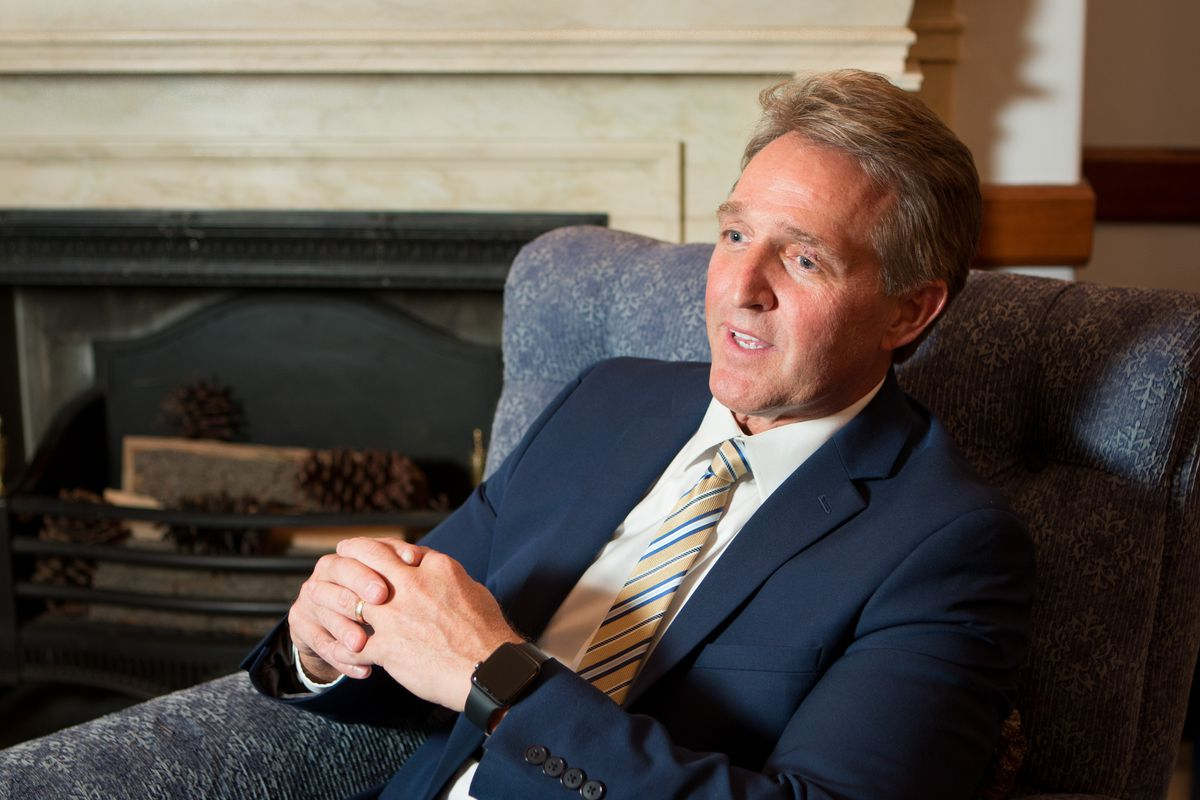 Sen. Jeff Flake, R-Ariz., who has been openly opposed to President Donald Trump and who did not run for re-election, is pictured here in the Russell Senate Office Building in Washington, D.C., on Nov. 14, 2017.