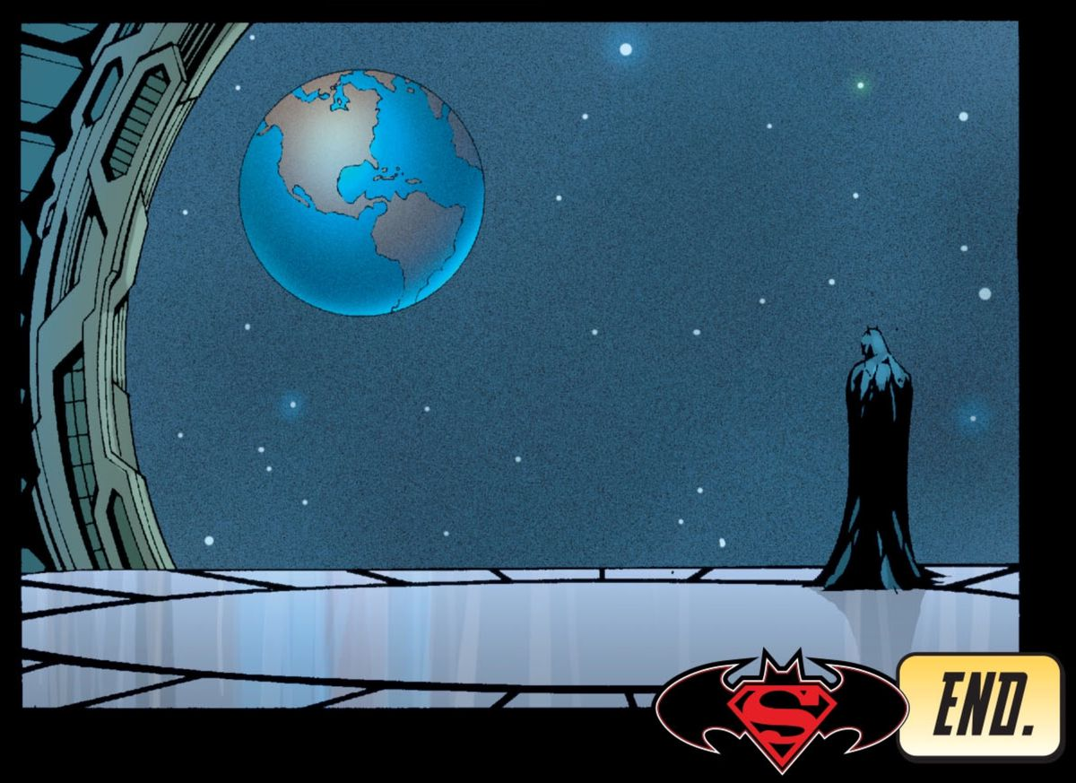 Batman stands alone and perhaps sadly on the observation deck of the Justice League Watchtower, in Superman/Batman #46, DC Comics (2008).
