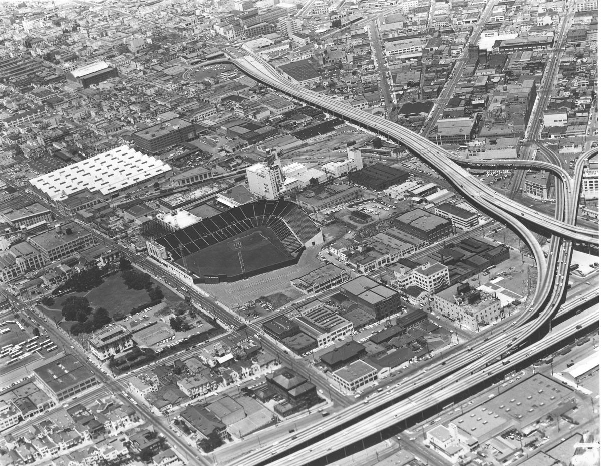 The empty Seals Stadium at Bryant and 16th Streets in San Francisco, circa 1957.