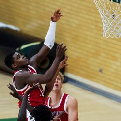American Fork's Evan Young goes to the hoop during a game against Kearns in Kearns on Friday, Jan. 8, 2021.