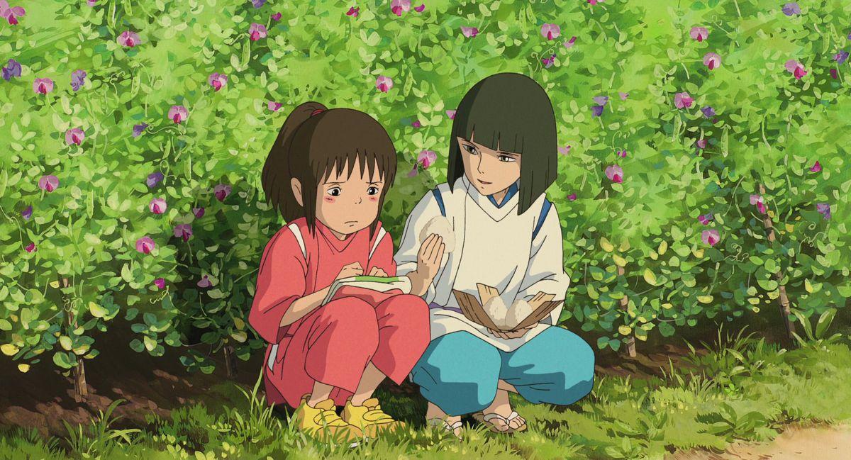 Spirited Away - Chihiro and Haku share rice ball