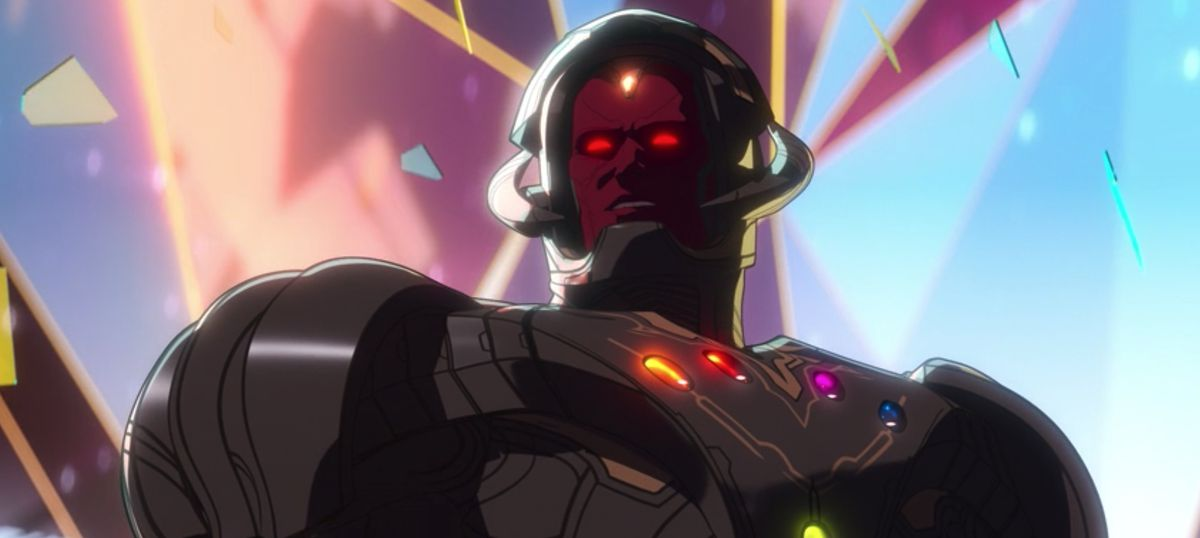 Ultron as Vision wielding the infinity stones in Marvel's What If