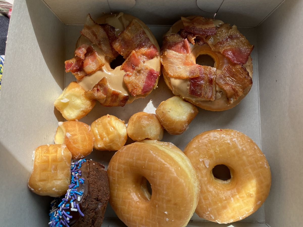A box of doughnuts from Bakers Donuts