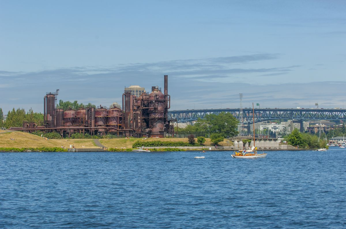View of Gas Works Park from Lake Union in Seattle,...