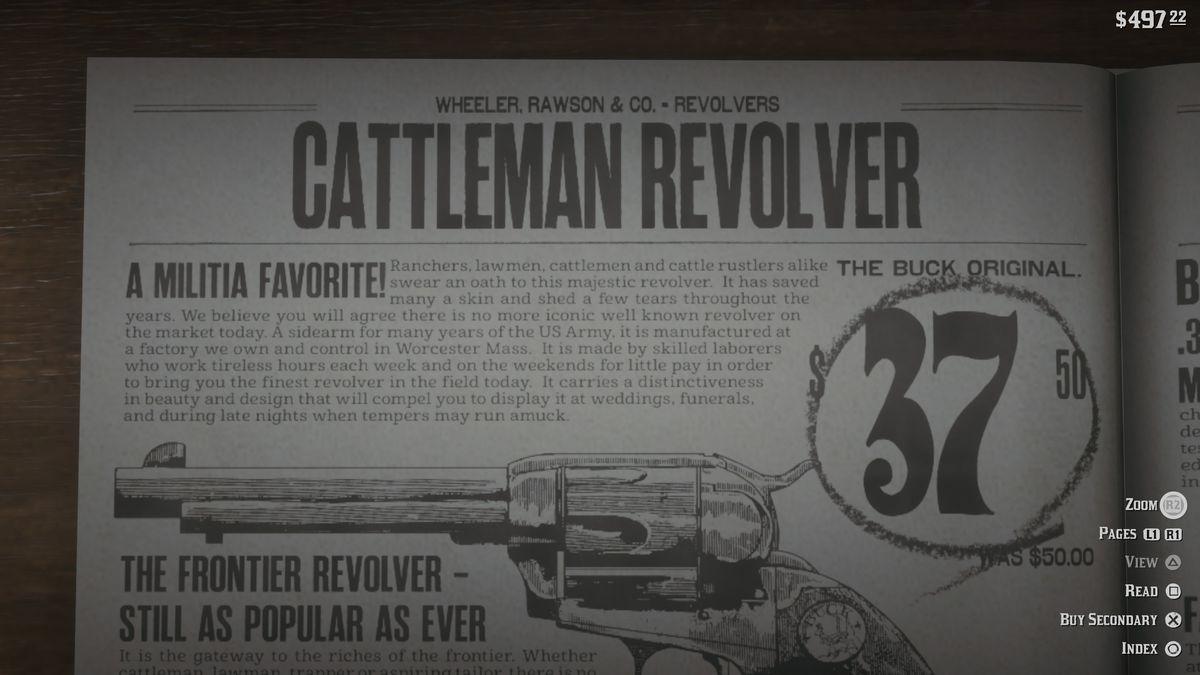 Red Dead Redemption 2 - Cattleman Revolver in Wheeler, Rawson & Co. catalog at gunsmith