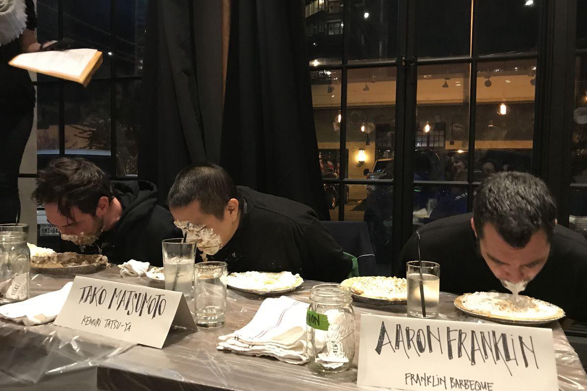 Casey Wilcox, Tako Matsumoto, and Aaron Franklin eating pie