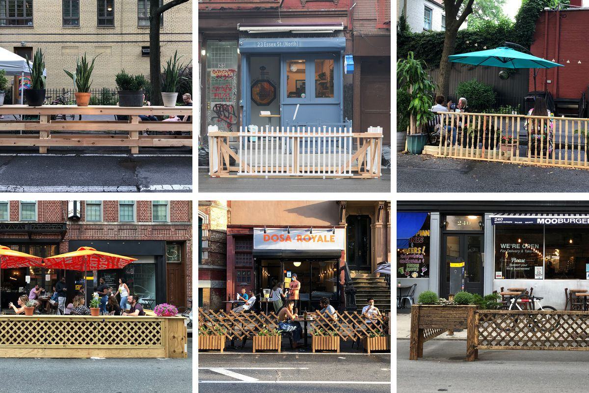 A grid of images of open restaurants enclosed with wood trellises, balusters, and planks.