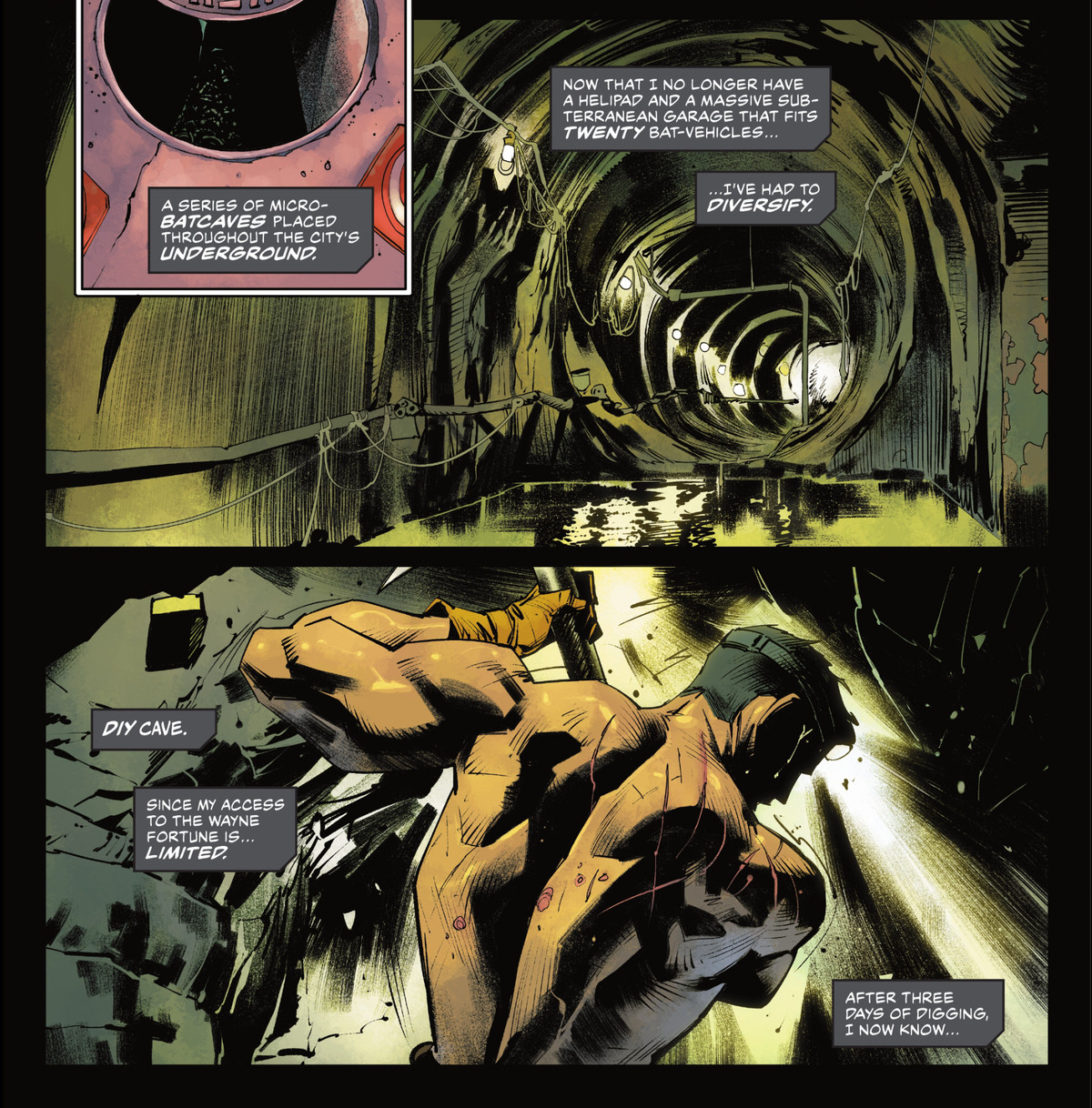 """Batman works on his """"series of micro-Batcaves placed throughout the city's underground,"""" digging shirtless in a sewer, in Detective Comics #1034, DC Comics (2021)."""