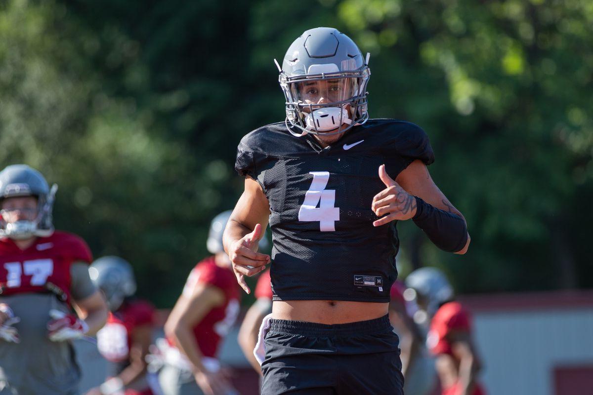 Washington State University Football Fall Practice 9 - Jayden de Laura (4)