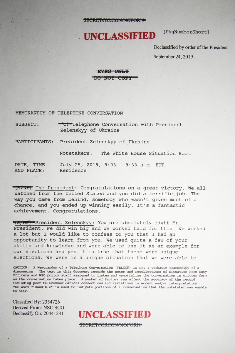 The first page of the unclassified memorandum of President Trump's phone call with Ukrainian President Volodymyr Zelensky.