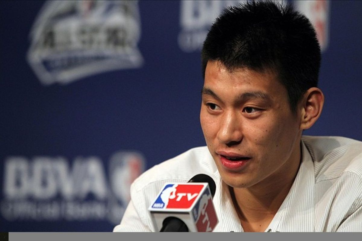February 24, 2012; Orlando FL, USA;  New York Knicks guard Jeremy Lin speaks to the media during a press conference at the Amway Center in Orlando. Mandatory Credit: Kim Klement-US PRESSWIRE