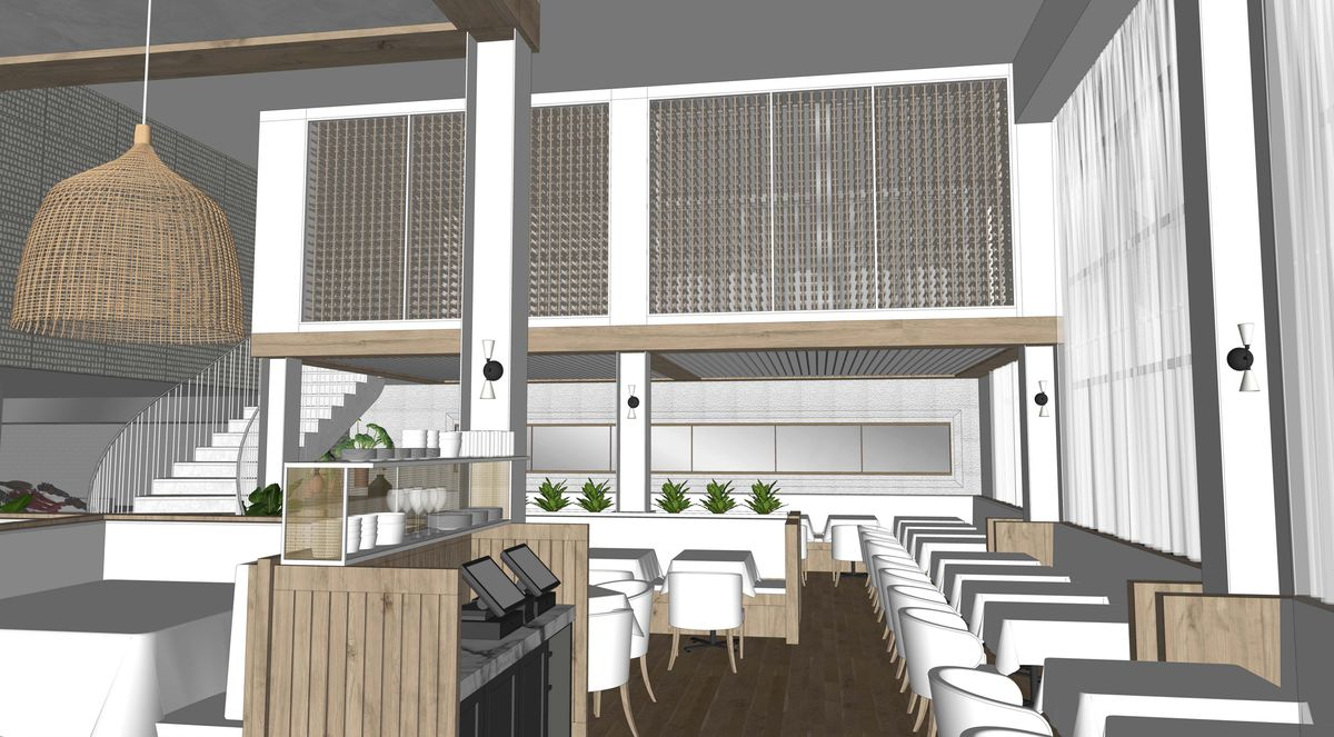 A rendering of Simi Estiatorio's dining space