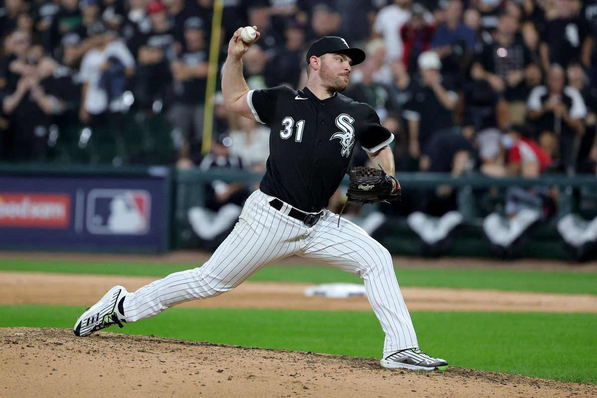 Liam Hendriks of the Chicago White Sox pitches in the ninth during Game 3 of the American League Division Series against the Houston Astros at Guaranteed Rate Field on October 10, 2021 in Chicago, Illinois.