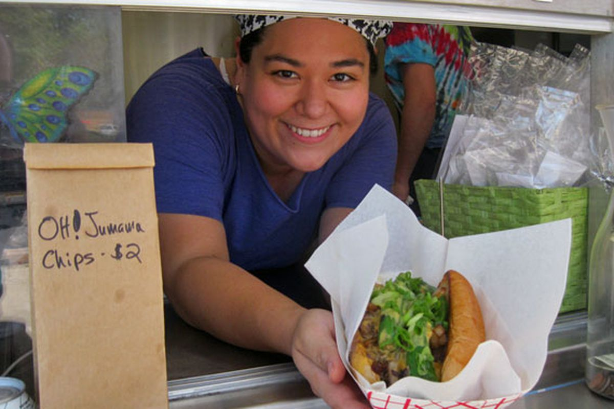 Chef Laura Lee offers up one of the truck's signature dishes, the Bulgogi Cheesesteak!