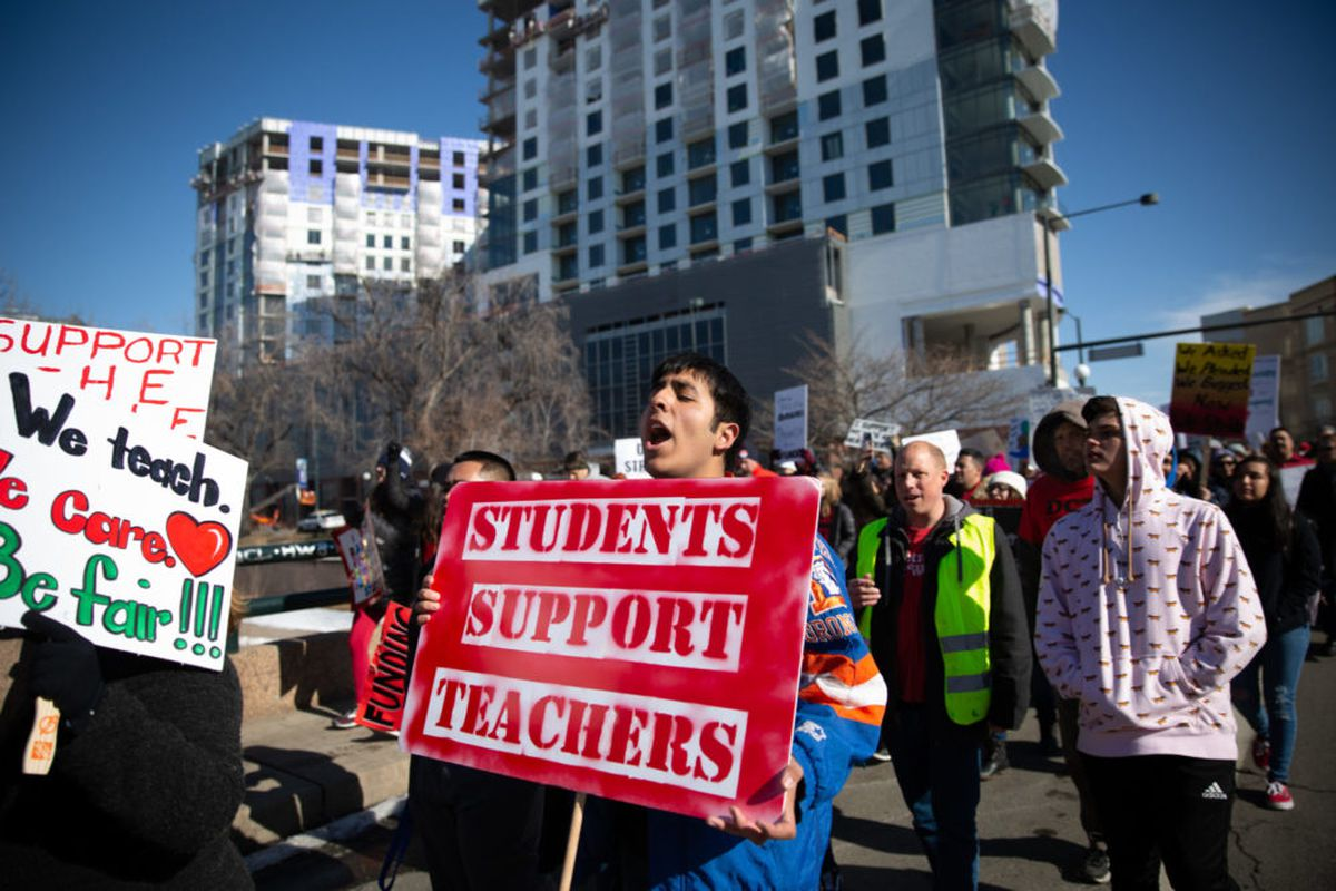 Students join marches on the first day of Denver's teacher strike.