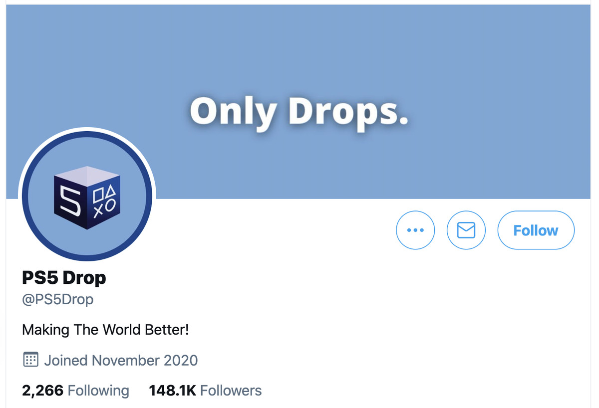 A screenshot of the @PS5drop Twitter account profile page