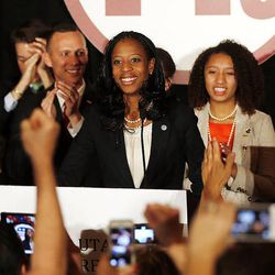 Mia Love, 4th Congressional District Republican candidate, declares victory on election night in Salt Lake City, Tuesday, Nov. 4, 2014.