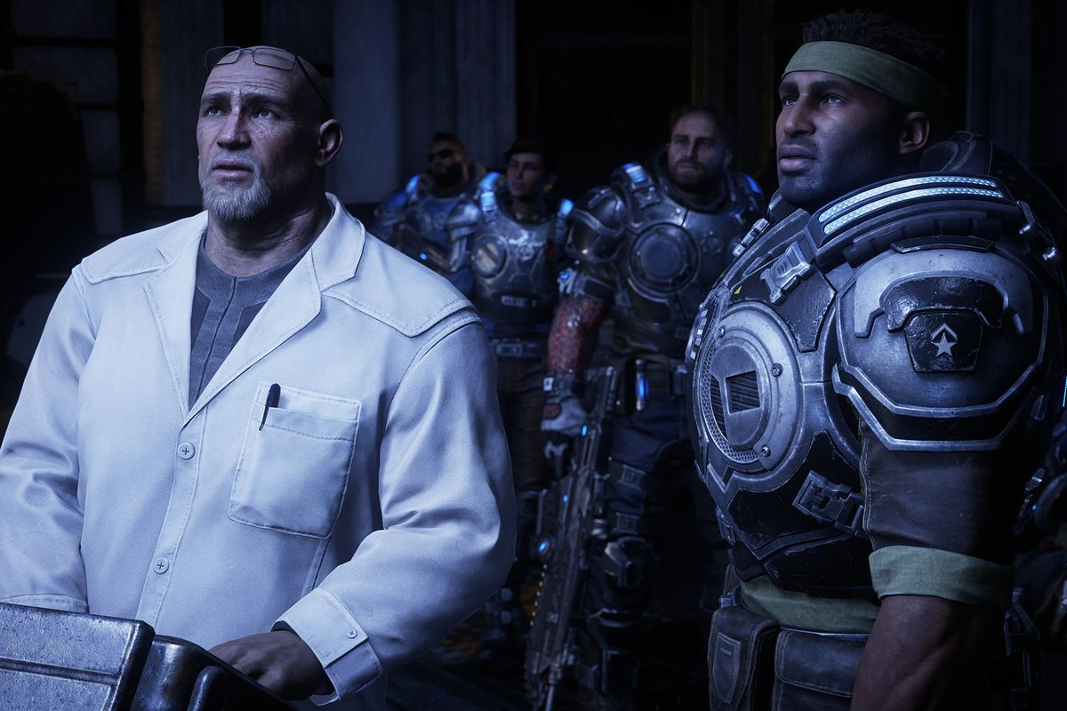 Del and Baird look up in horror at something inside a lab in Gears 5.