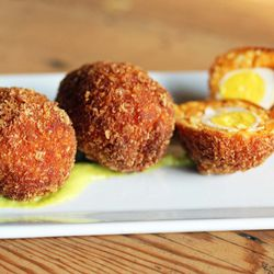 """Scotch Eggs from The Queens Kickshaw by <a href=""""http://www.flickr.com/photos/bradleyhawks/8226733037/in/pool-eater"""">Amuse * Bouche</a>"""