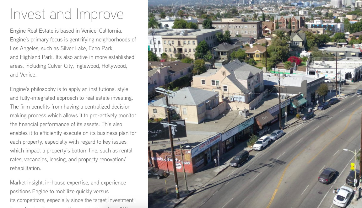 A screenshot of Engine Real Estate's website showing that gentrification is the goal
