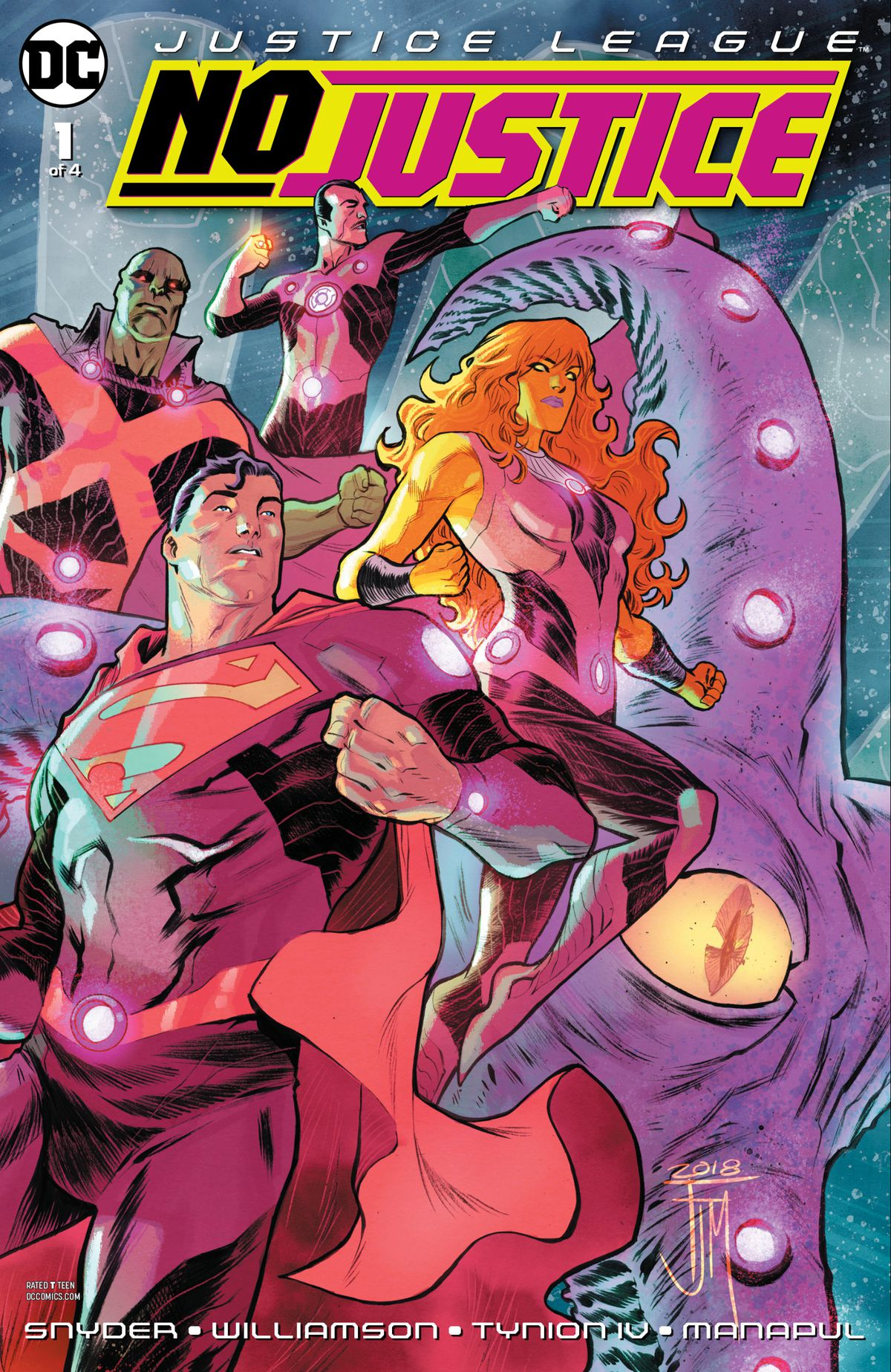 Superman, the Martian Manhunter, Sinestro, Starfire, and Starro the giant psychic alien starfish stand ready on the cover of No Justice #1, DC Comics (2018).