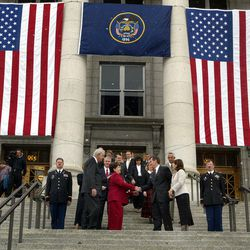 FILE - Mike Leavitt says goodbye on the front steps of the Capitol as Olene Walker becomes the first woman Governor of Utah in Salt Lake City, Utah, Nov. 5, 2003.
