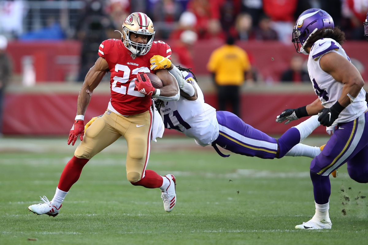 Matt Breida of the San Francisco 49ers rushes with the ball against the Minnesota Vikings during the NFC Divisional Round Playoff game at Levi's Stadium on January 11, 2020 in Santa Clara, California.