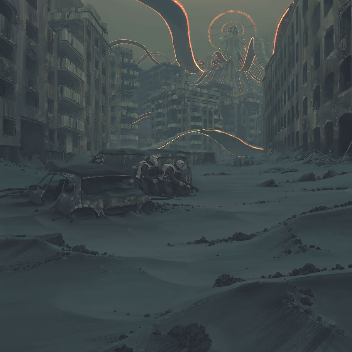 Several armed, suited humanoids crouch in the cover of a ruined van. In the distance, glowing tendrils of black filament lash out at a ruined city scape.