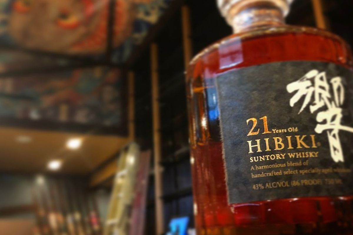 A bottle of Hibiki Japanese whiskey on the bar at Toukei