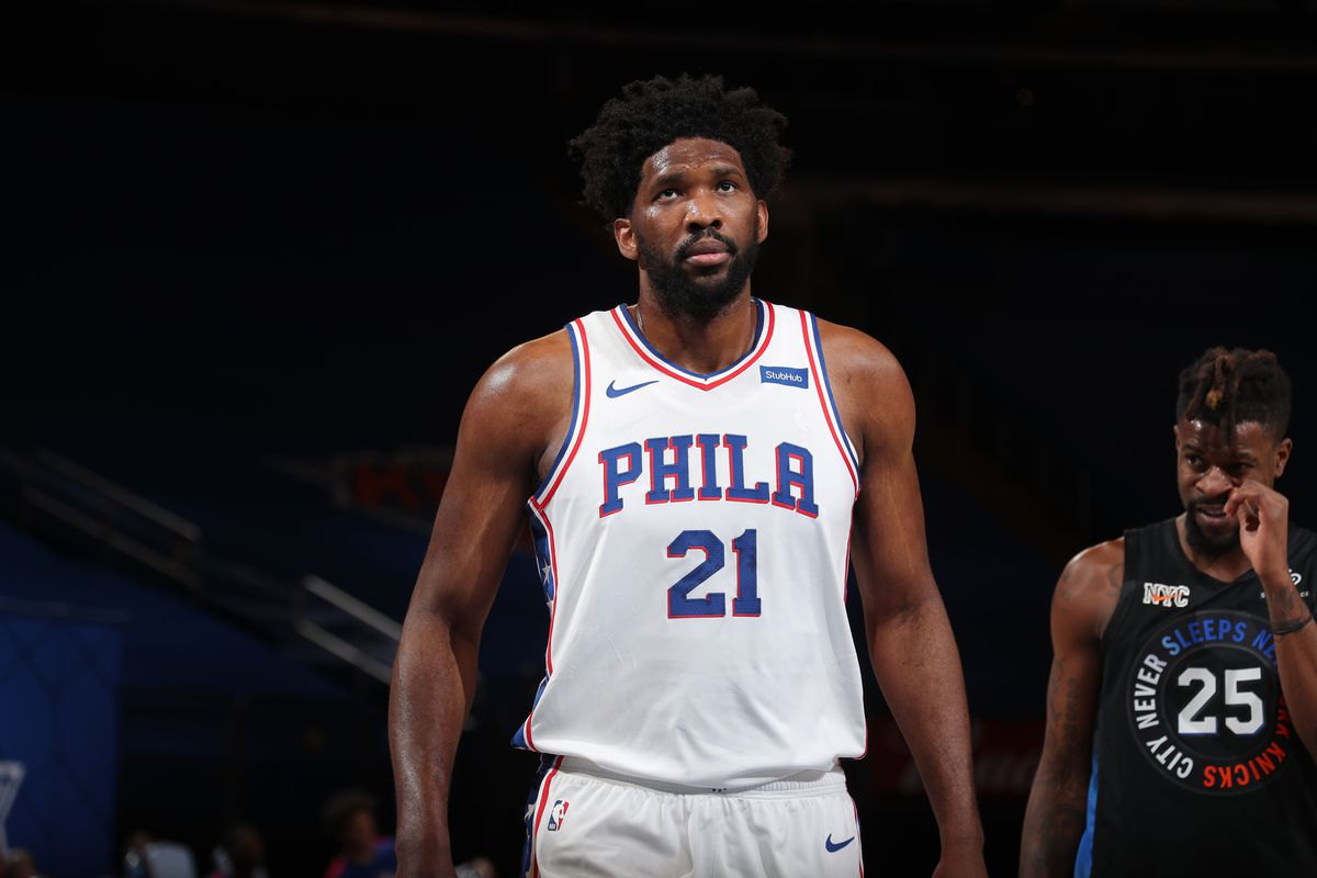 Joel Embiid of the Philadelphia 76ers looks on during the game against the New York Knicks on December 26, 2020 at Madison Square Garden in New York City, New York.