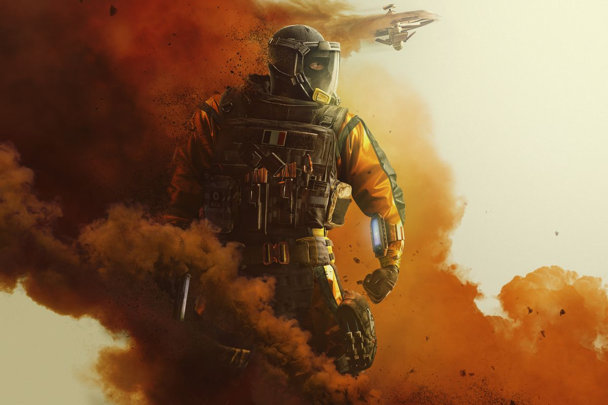 An orange-suited military figure stands inside the plume of a smoke grenade.