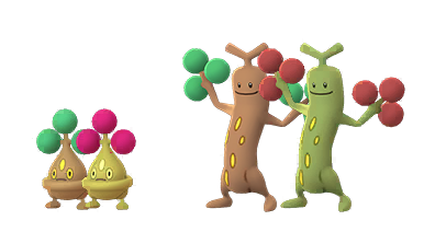 Shiny Bonsly and Sudowoodo with their Shiny variants, which have pink shrubs with a yellow body, rather than green shrubs with a brown body