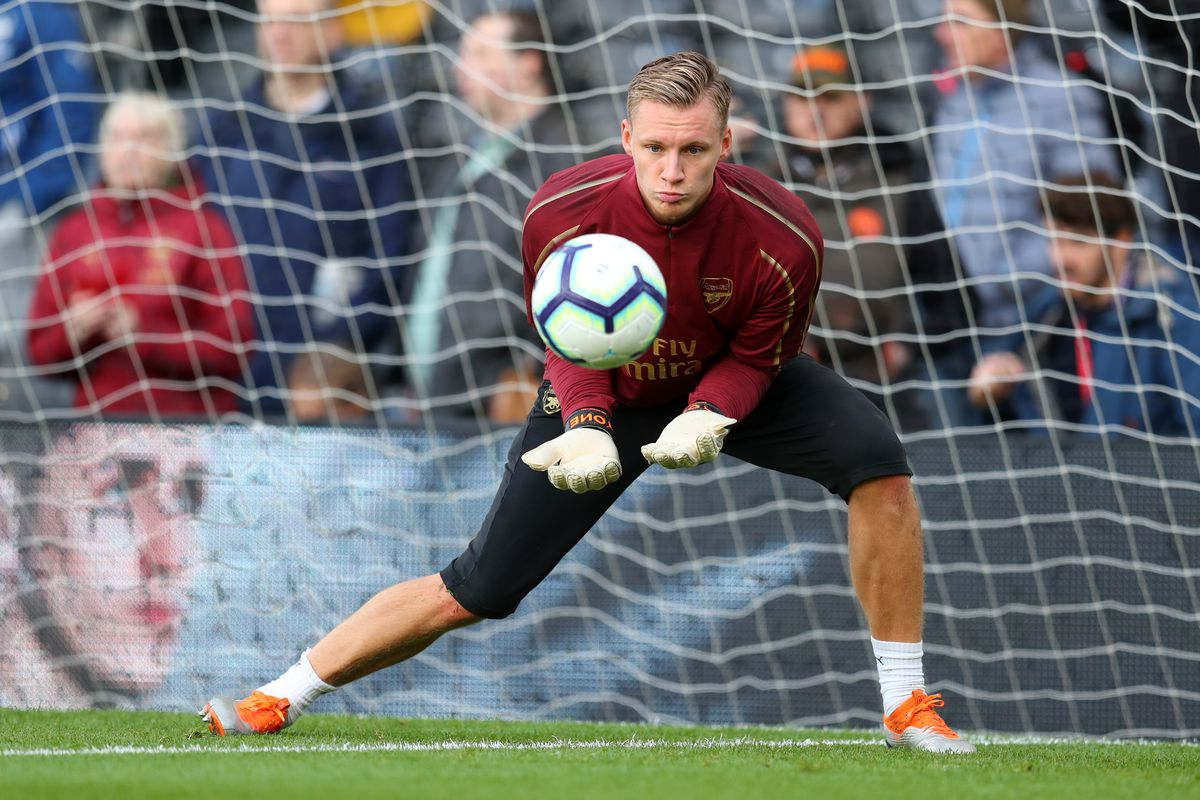 3d239dd2eb7 Bernd Leno warms up before the Fulham match on October 7 — his first  Premier League start for Arsenal. Photo by Catherine Ivill Getty Images