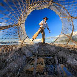 Travel: A fisherman on Inle Lake in Myanmar