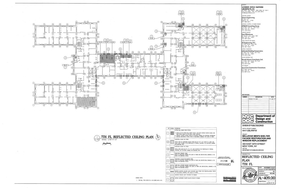 The floor plan for the 7th floor of the 30th Street Men's Shelter.