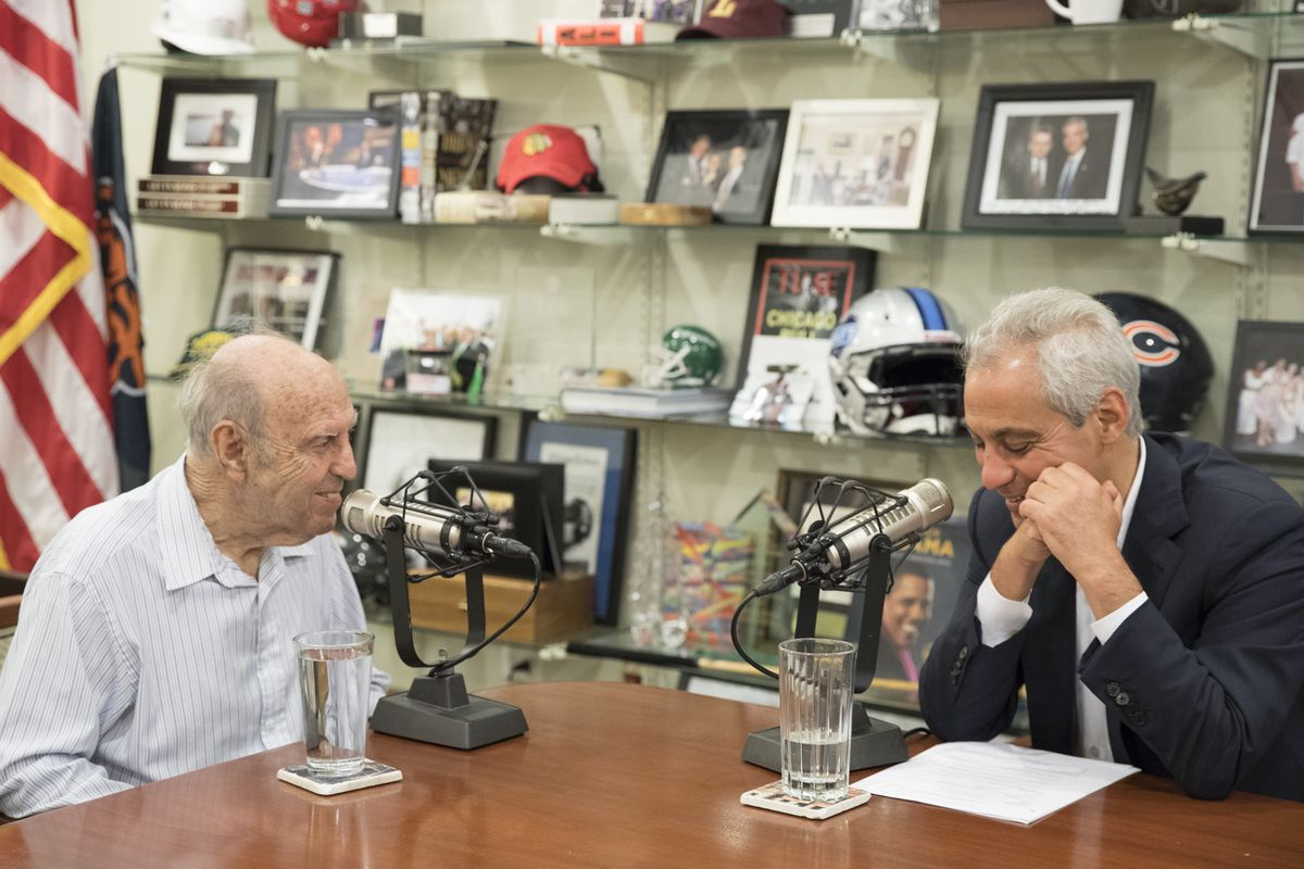 """Rahm Emanuel interviewing his father Dr. Benjamin Emanuel for a 2018 """"Chicago Stories"""" podcast in which the then-mayor called him """"my idol."""""""