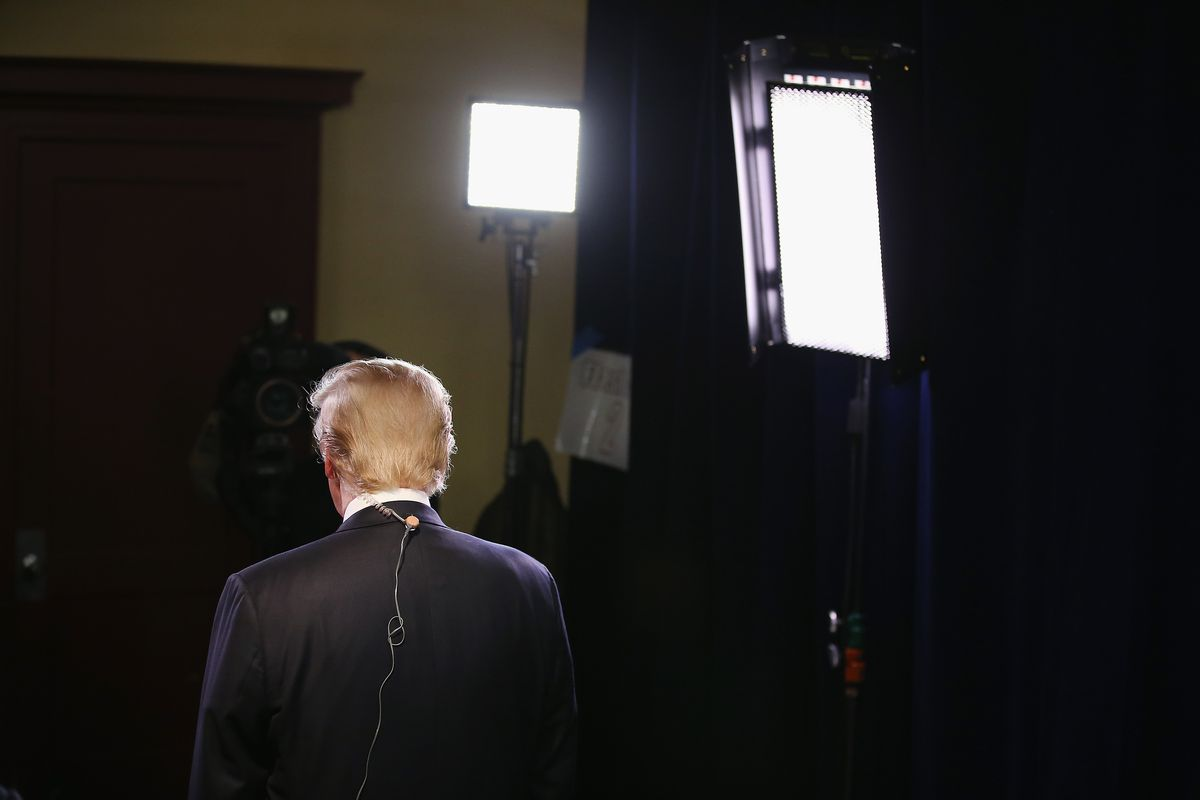 Donald Trump during an interview with Fox Business in Milwaukee, Wisconsin.