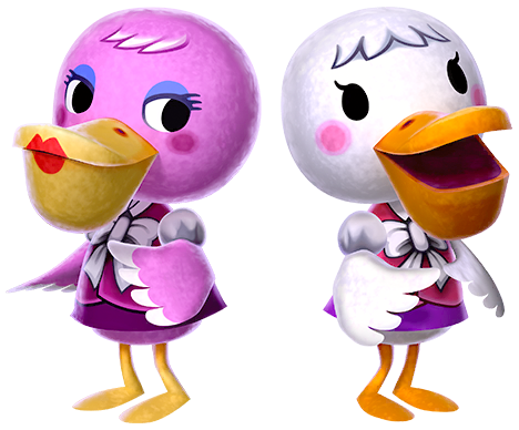two ducks. one is pink and the other is white. they're wearing cute pink tops with a giant bows on them