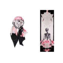 """<strong>We Are Owls</strong> Cashmere Skeleton Scarf at Curated by The Tannery, <a href=""""http://curatedbythetannery.com/products/skeleton-grey-black"""">$272</a>"""