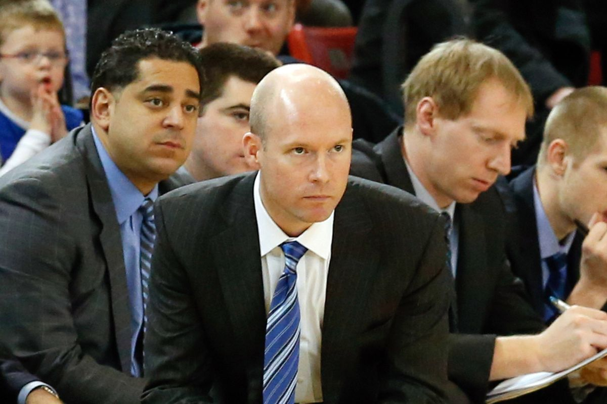 Grant Billmeier, pictured right of Kevin Willard, served on Seton Hall's staff for four seasons.