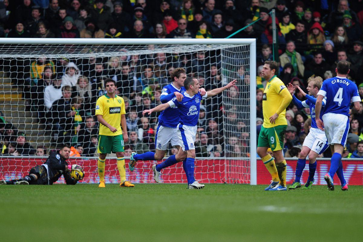 Leon Osman scores against Norwich City last season