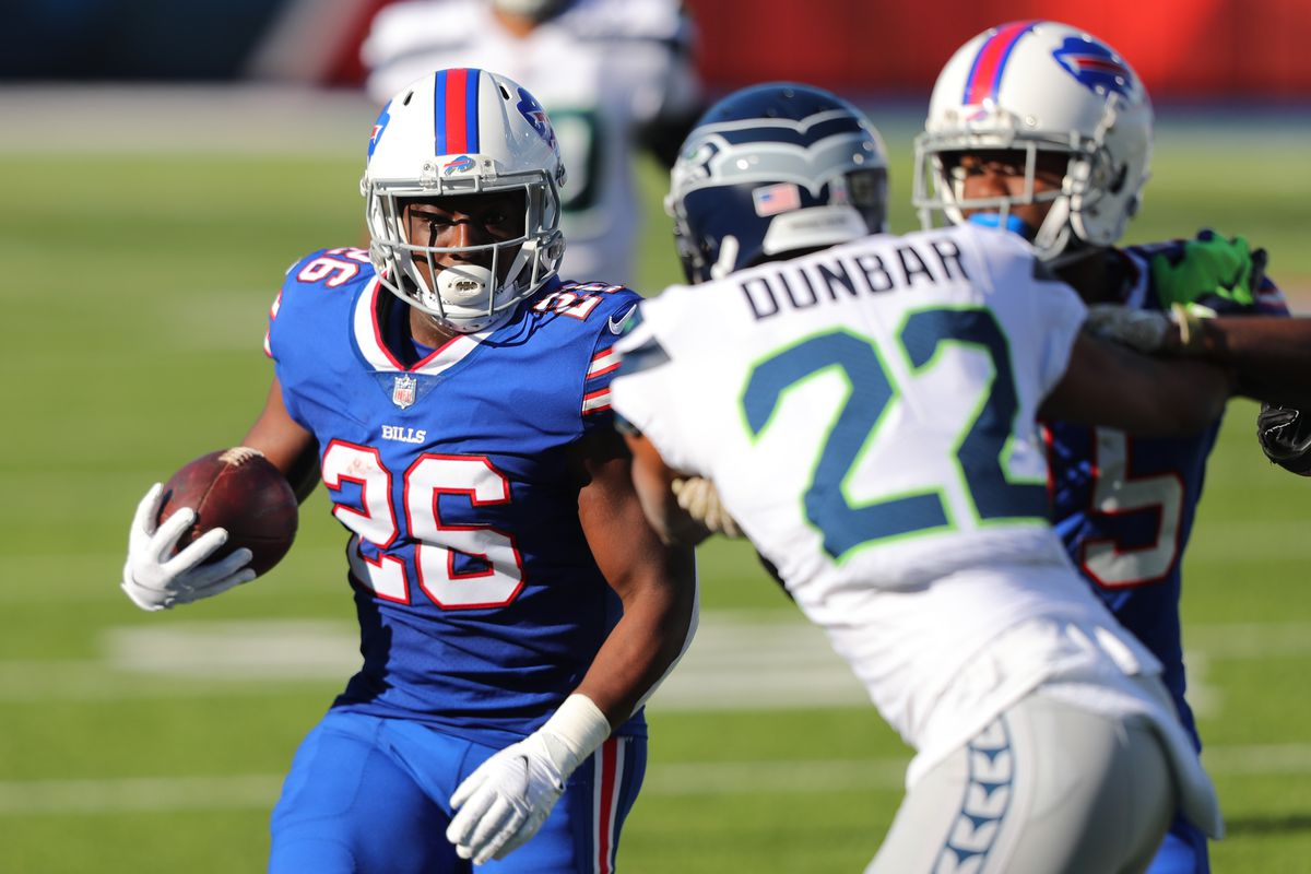 Devin Singletary #26 of the Buffalo Bills carries the ball during the first half against the Seattle Seahawks at Bills Stadium on November 08, 2020 in Orchard Park, New York.