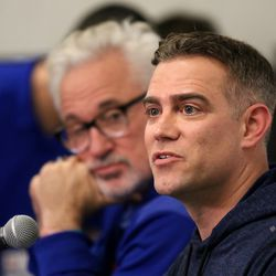 Cubs President of Baseball Operations, Theo Epstein, discusses a wide range of topics at a press conference in the media room of the Under Armor Performance Center, the Spring training home of the Chicago Cubs in Mesa, AZ.    John Antonoff/For the Sun-Times
