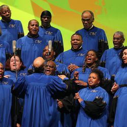 The Calvary Baptist choir performs during the general session of RootsTech at the Salt Palace in Salt Lake City on Friday, Feb. 10, 2017.