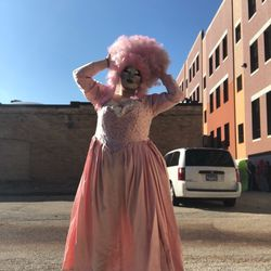 Susan Stinker's (@susanstinker) cotton candy version of Marie Antoinette. The dress is completely handmade and hand beaded, and the wig is from Kat Sass.